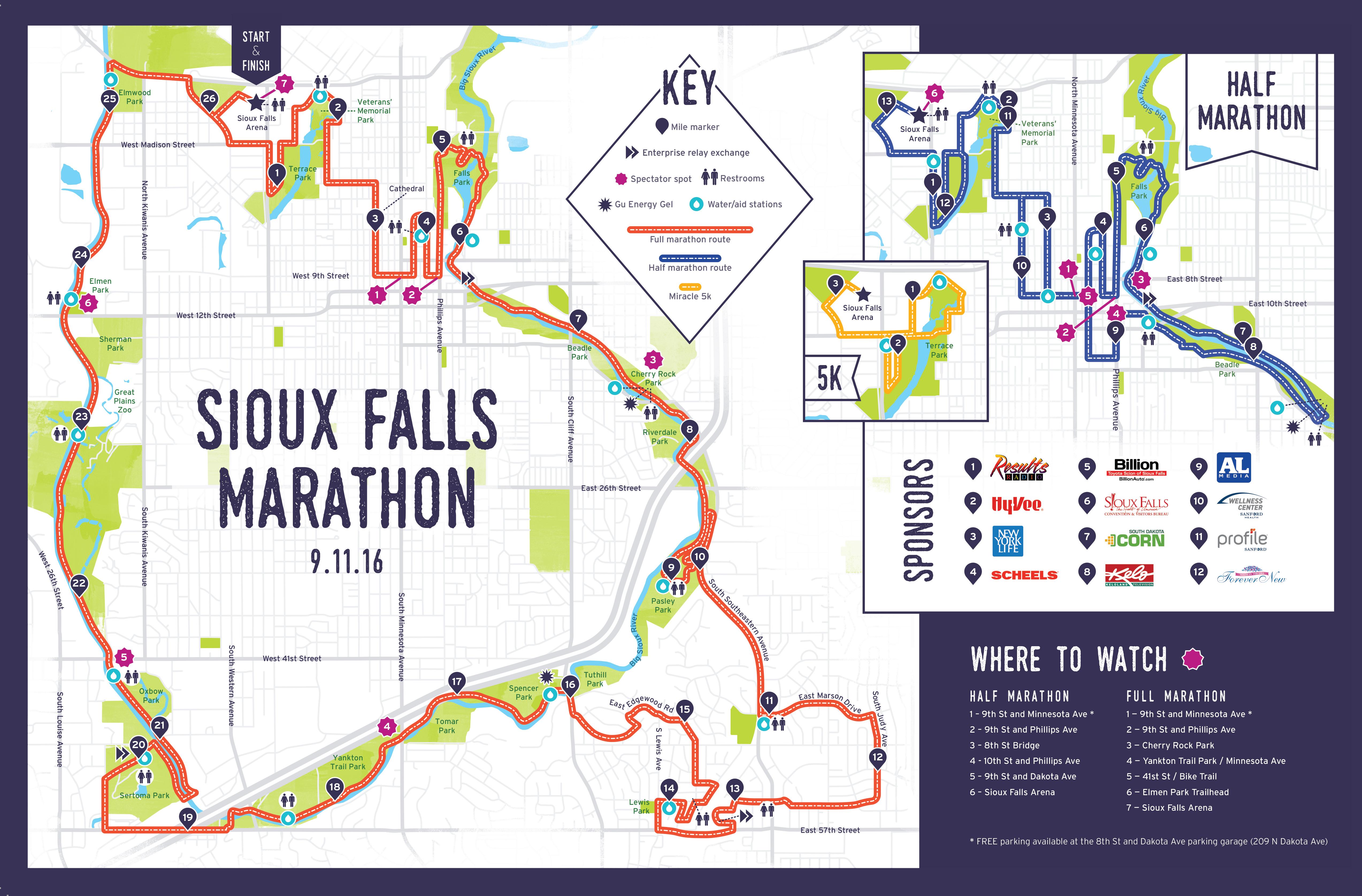 Sioux Falls Marathon Route Map