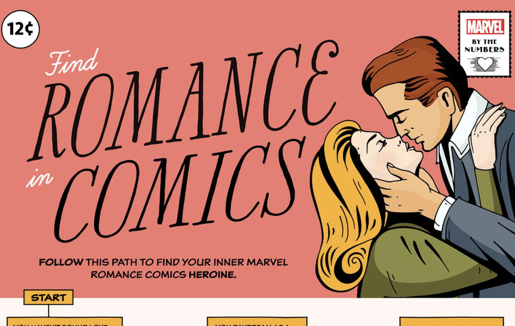 Marvel's Find Romance in Comics Flowchart